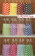 30PCS/lot  NEW big dots gift paper bags/27*21*11CM/Kraft bag/ Christmas bag/ Wholesale price/ Free shipping