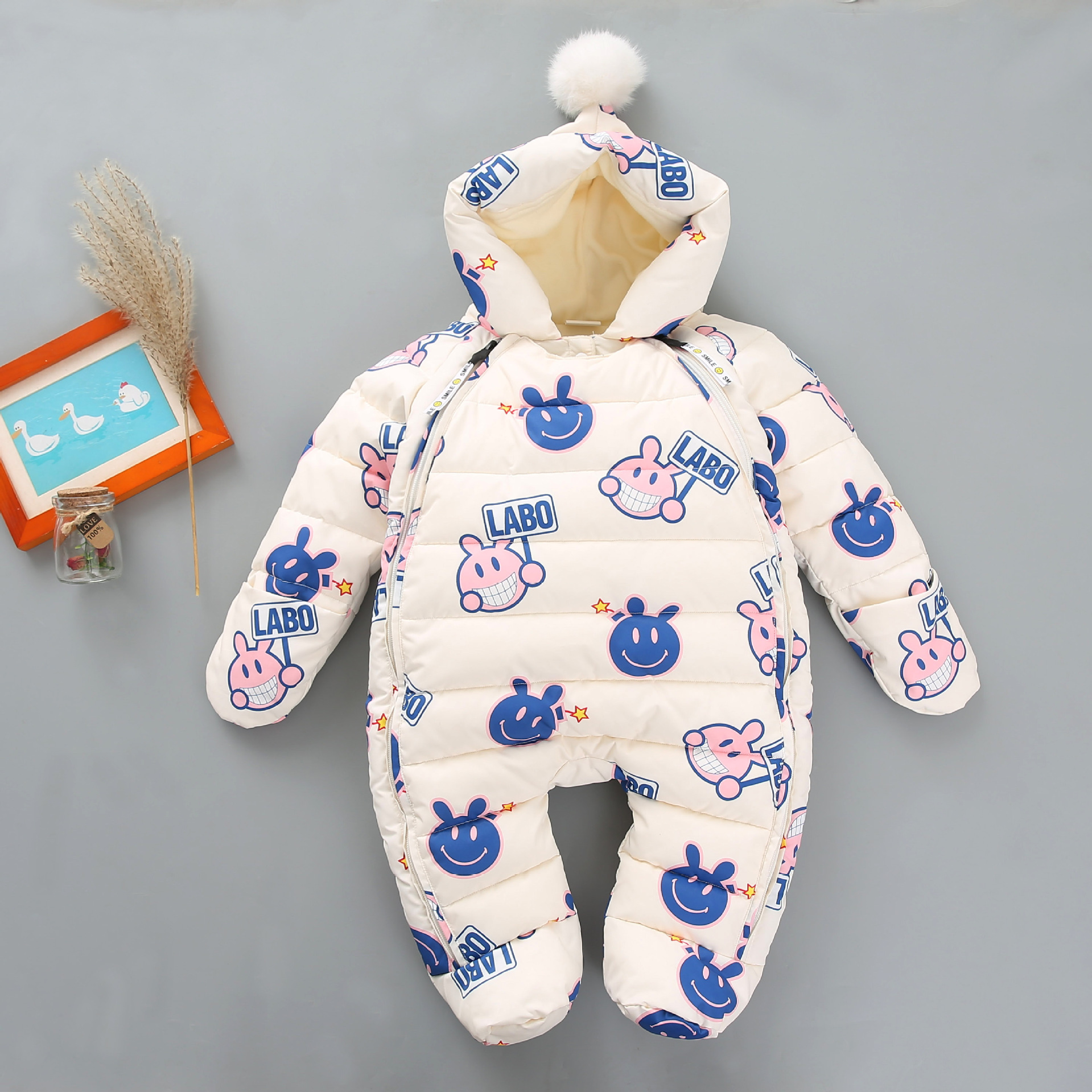 2018 Winter Baby White Duck Down Outfit Worm Infant Toddler Clothing Winter Down Rompers Children Snowsuits<br>