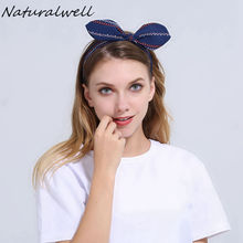 Naturalwell Girls Twist Top Knot Headband Womens Headbands Adult Yoga Headwrap Topknot Hair Bows Hair Accessory WH030(China)