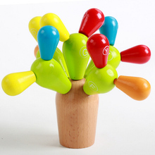 2016 early education wooden toy Plan toys balancing cactus wooden preschool game baby kids developmental intelligence toy DIY(China)