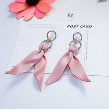 "8SEASONS Fabric Earrings Silver Color Pink Black Ribbon Clear Rhinestone 9.5cm(3 6/8""), Post/ Wire Size: (21 gauge), 1 Pair(China)"
