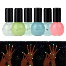 Hot Sale 6 Candy Color Luminous Nail Polish Light Glow in Dark Nail Varnish Art For Beauty Fluorescent Pigment Nail Polish