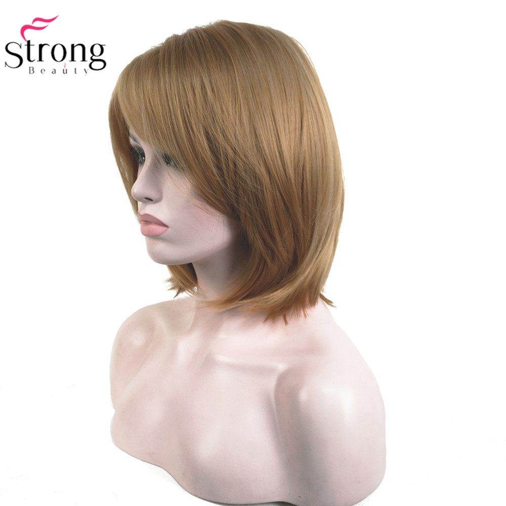 StrongBeauty Women's Synthetic Wigs Medium Bob Hairstyle Strawberry Blonde Natural Wigs