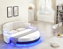 Round bedroom furniture with modern bedroom furniture for genuine leather bed with Led light