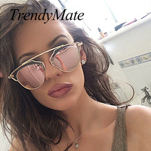Hot Brand Designer Cat Eye Mirror Sunglasses Ladies Pink Mirror Sun Glasses for Women Real 100% UV400 Oculos De Sol M172