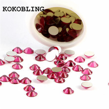 ss3 -ss30 Flat Back Best Crystal Fushsia ( 3d Nail Art decorations ) Non Hot Fix Glue on rhinestones for nails diy