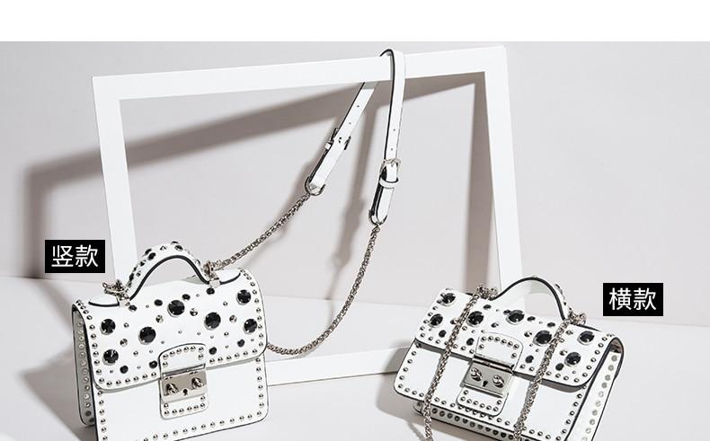 Fashion Women Messenger Bag New Brand Genuine Leather Female Shoulder Bag Luxury Diamond Woman Handbags Strap Bags White (8)
