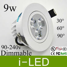 High Power Led Downlights Dimmable 9w 650lm replace 60w holagen lamp Led Lights For Home AC90-260V Warm cold White +Driver UL CE