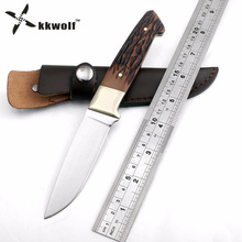KKWOLF fixed blade hunting knife Leather sheath camping survival Tactical knife outdoor rescue pocket knives EDC Free shipping(China)