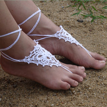 Crochet White Barefoot Sandals, Foot jewelry, Bridesmaid gift, Barefoot sandles, Beach, Anklet,Beach Wedding, Summer shoes