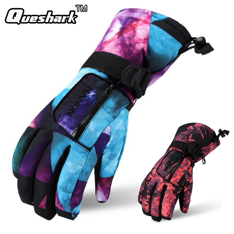 Image Men Women Professional Graffiti Waterproof Thermal Skiing Gloves Winter Outdoor Sports Hiking Cycling Snow Ski Gloves Christmas