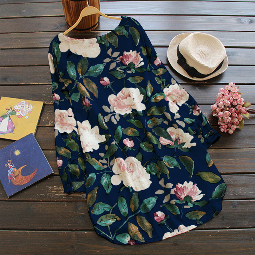19 New Women Loose Floral Print Dress Ladies Mini Dress Summer Casual Party Dresses Long Sleeve Dress Plus Size 3