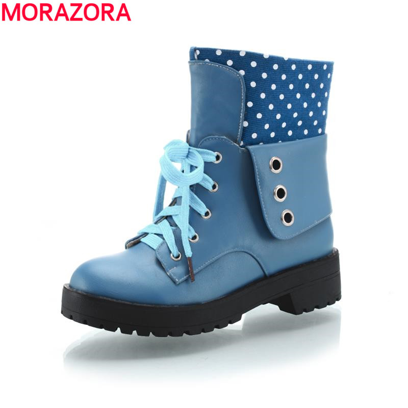 2017 new arrive leisure lace up autumn winter women polka dot boots fashion med square heel round toe spring ankle boots<br><br>Aliexpress