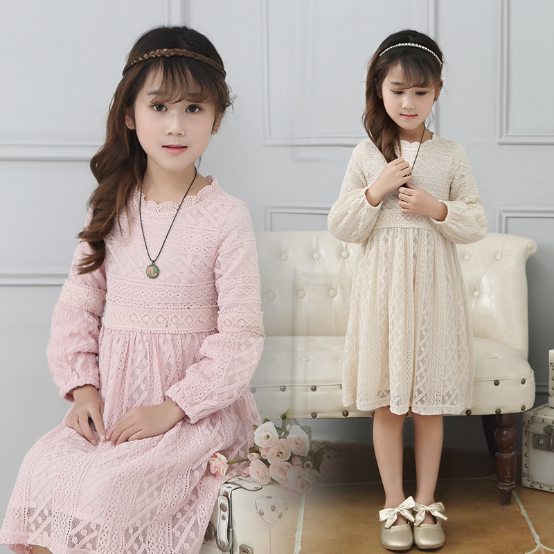Childrens Garment 2017 Spring New Pattern Girl Lace Child Dress Princess<br>