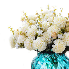 Promo  Bouquet Flower Artificial chrysanthemum Wedding Bridal Home Floral Decor Flower Arrangement DIY