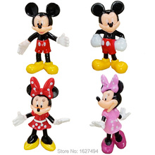 4pcs/set Mickey Minnie Mouse Disny Miniatures Dolls PVC Action Figures Cartoon Anime Figurines Kids Toys for Boys Girls