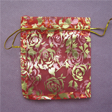 Colorful Bronzing Rose Organza Gift Bag 10x12cm with drawstring, string packaging pocket pouch jewelry candy wedding valentine