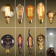 2W 3W 4W 40W E27 Filament Bulbs Vintage Retro Antique Industrial Style Edison Light ST64 ST58 A19 G80 G95 G125 T10 Free Shipping