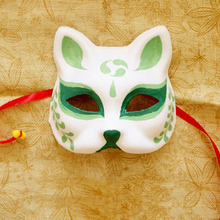 Half Face Hand-Painted Japanese Style Fox Mask Kitsune Cosplay Masquerade Green Pattern for Party Halloween(China)
