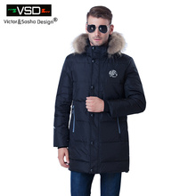 Victor&Sasha Design 2016 New Winter Long Men's Jacket Fashion Classic Thickening Duck Down Overcoat Thermal Male Big size Parka(China)