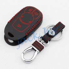 Leather Vehicle Car Key Case For Buick Envision 2015 2016 Keychain Fob Ring Black Cover Hook Accessories