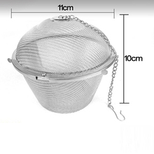 New Diam 11cm Silver Reusable Stainless Mesh Herbal Ball Tea Spice Strainer Teakettle Locking Tea Filter Infuser Spice(China)