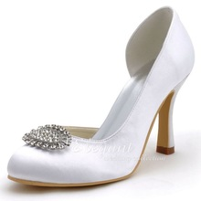 New Women Shoes White,Ivory,Silver EP2113 Round Toe Rhinestone High Heel Shoes Satin Wedding Bridal Pumps