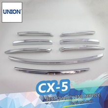 FIT FOR 2015 2016 MAZDA CX-5 CX5 CHROME FRONT MESH GRILLE GRILL BUMPER COVER TRIM INSERT BONNET GARNISH MOLDING GUARD PROTECTOR(China)
