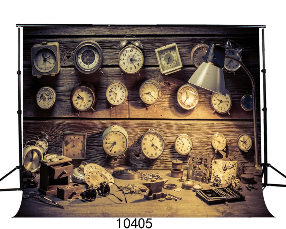Retro wooden clocks Photography backdrops  Backgrounds for photo studio Vinyl backdrops for photography Fond studio photo vinyle<br><br>Aliexpress