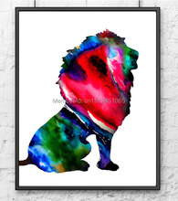 pink green lion painting Children wall Art decor abstract home decor art Painting print on canvas wall art Watercolor Art Print