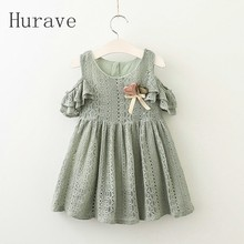 Hurave 2017 Lace girls dress girl summer clothing cute kids clothes robe fille princess v neck dresses