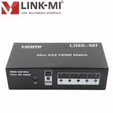 LINK-MI LM-MX03 Audio Video Mini 4x2 HDMI Matrix Switcher Support 3D, 1080p High-definition signal amplifier extender 1x2