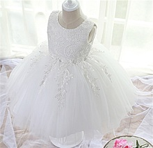 2017 White Baby Evening Formal Gown For Girl Party Dress Lace Christening Kids Dresses For Girls Little Bridesmaid Wear Ceremony