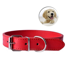 11Colors Pu Leather Pet Dog Cat Collars Adjustable Buckle Basic Small Pet Puppy Neck Strap Size XS S M L Cheap Collar(China)