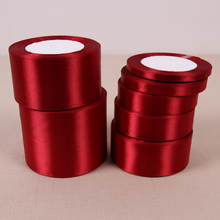 (25 Yards/roll) 6/10/15/20/25/40/50mm Wine Red Color Single Face Satin Ribbon DIY Gift Wrapping Christmas Ribbons