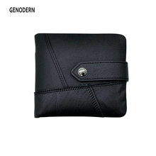 GENODERN Men Genuine Leather Wallet with Coin Pocket Short Horizontal Wallet for Man Cowhide Male Purse Buckle European Wallets(China)