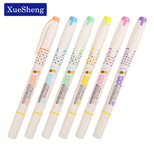 6PCS/set Double Tip Double Colored Highlighter Pen School Supplies Markers Pen H-2290(China)