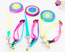 Portable Pet Dog mascotas Multicolor Traction Rope chain Adjustable Pet rainbow colored Harness nylon Rope Chest Strap ss343