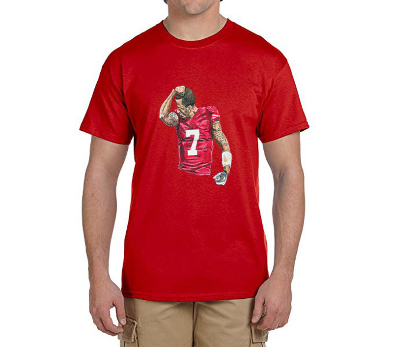 Cool printing Colin Kaepernick Kissing on the arm 100% cotton t shirts Mens gift T-shirts for 49ers fans 0214-12(China (Mainland))