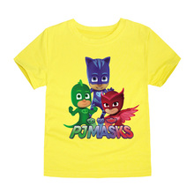TINOLULING 2017 New Arrival Boys T shirts Girls Tops and Tees Big Children Pjmasks Cartoon Cotton T-shirt for 2-14 Years