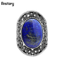 Buy Hollow Flower Oval Lapis Lazuli Rings Women Natural Stone Vintage Antique Silver Plated Fashion Jewelry TR622 for $1.83 in AliExpress store