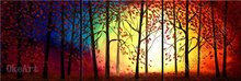Where The Sun Shines In The Deep Forest oil painting on canvas abstract knife 3 panel wall art 3 pcs 3 set Small room wall dec