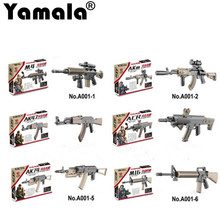 [Yamala]6pcs/lot 10cm military weapon Build Block mini Bricks rifle Sniper rifle Submachine gun AK47 M16 AK74 Building Blocks