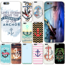 Vintage Nautical Anchor White on Brown Wood Grain Hard Transparent Case Cover for iPhone 4 4S 5 5S SE 5c 6 6s 7 7 Plus