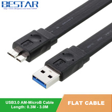 0.3M 0.6M 1M 1.5M 3M USB 3.0 Cable A Male to Micro B Male data Cable for Computer external harddisk hard drive HDD Flat Cable(China)