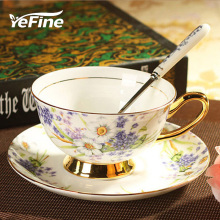 YeFine Ceramics Afternoon Black Tea Cups And Saucers European Style Bone China Coffee Cups & Saucers Spoons Drinkware Set Gifts(China)