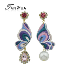 FANHUA Ethnic Gold-Color Earrings Pink Green Butterfly Shape With Simulated-pearl and Rhinestone Drop Earrings For Women Jewelry