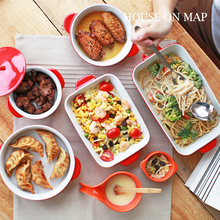 Brand Glaze Ceramic Bakeware Set For Baking Tray Cheese Plates Double Ears Spaghetti Dishes Lasagna High Quality 5pcs Sets Red(China)