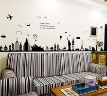 Fashion Eiffel Tower Sydney Greek city Building set DIY Wall Stickers Living Room Background Decor Mural Decal Wallpaper AY9214(China)