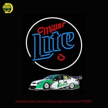 Miller Lite Rusty Wallace Race Car NEON SIGN Neon Bulb Handcrafted Recreation Room Glass Tube Window Neon Signs for bar 31x24(China)